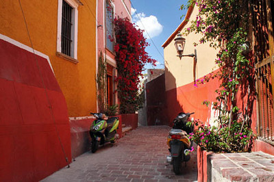 Colorful, flower-draped lanes