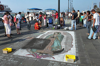 Chalk art along the Malecon