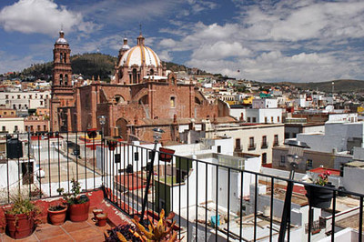 Zacatecas Cathedral from roof of hostel