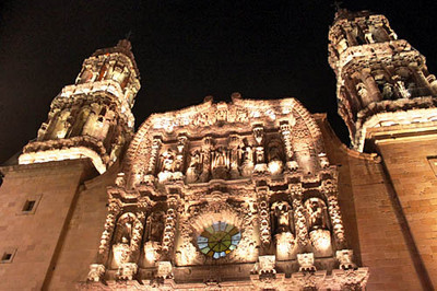 Zacatecas cathedral at night