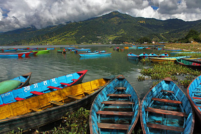 More colorful boats clustered on he shore