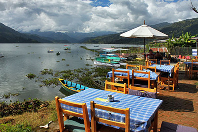 A lakeside restaurant offers great views