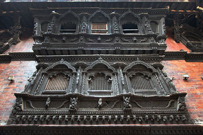 The living goddess Kumari lives behind these elaborately carved windows