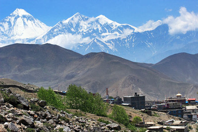Town of Muktinath lies 300 feet below temple of the same name