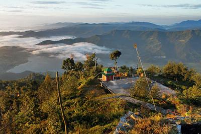 Looking back toward Pokhara on the climb up