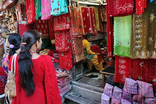 Buying Linens for Dashain Festival