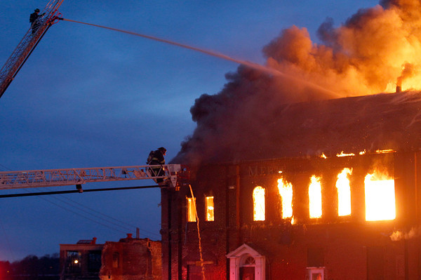 Flames could be seen for miles from the Merrimac Paper Co. which burned down in Lawrence. Photo by Mary Schwalm