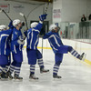 Methuen players celebrate after scoring a goal during their hockey game against Haverhill. Photo by Mary Schwalm