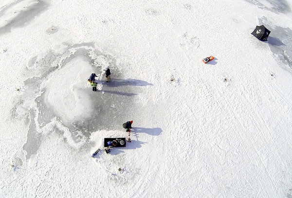 Kite Aerial photography over the Haverhill Hound Rod & Gun Club's 2014 Ice Fishing Derby. Photo by Mary Schwalm