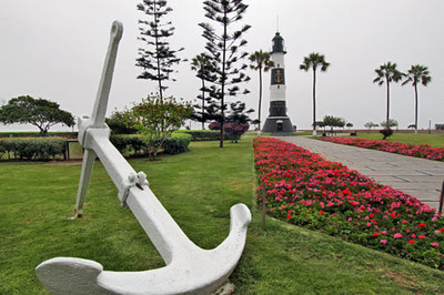 Lighthouse on the Malecon - ocean walk - in Lima, Peru