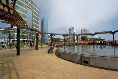 Reflecting pool on Lima's Malecon - ocean walk
