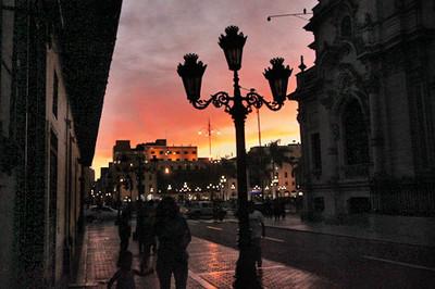 Sun sets over Plaza de Armas in Lima's historic city center