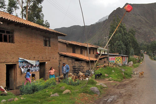 Red flag in the Sacred Valley means chicha (locally made beer) is ready