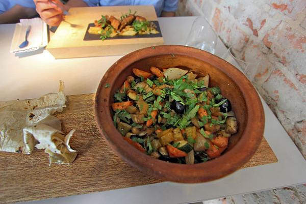 Vegetarian entree at Vine Bridge Restaurant