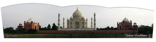View of the Taj Mahal from the gardens at Mehtab Bagh 'moonlight garden' across the Yamuna River.