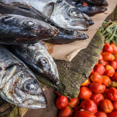fish and tomatos, weekly market. Nyasoso, Southwest Region, Cameroon Africa