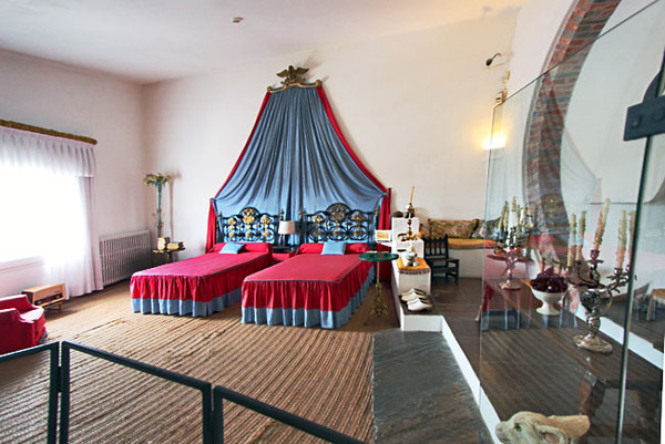 Gala and Salvador's master bedroom in their villa in Portlligat, Spain