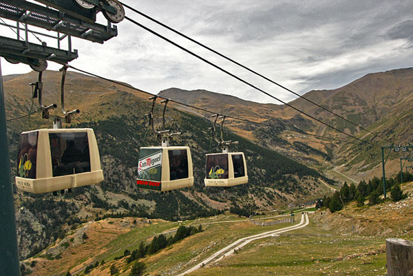 Gondolas whisk visitors to the top of the mountain