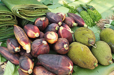Banana flowers & other exotics at fresh market