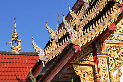 Detail of roof ornamentation on temple