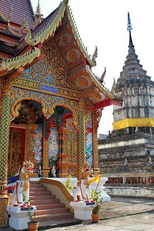 Temple and stupa at a wat in Chiang Khong