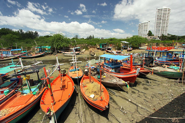 After bringing in the day's catch, boats are beached at Fisherman's Village