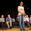 RYAN HUTTON/ Staff photo. <br /> Rachel Paradis works her way through a word during the middle rounds of the annual Timberlane Middle School Spelling Bee.