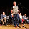 RYAN HUTTON/ Staff photo. <br /> Second place finisher Bryan Lavoie takes the mic during the earlier rounds of the annual Timberlane Middle School Spelling Bee.
