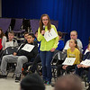 RYAN HUTTON/ Staff photo. <br /> Sadie Snell spells a word during the first round of the West Running Brook Middle School spelling bee.