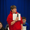 RYAN HUTTON/ Staff photo. <br /> Andrew Giampaolo takes the mic during the first round of the West Running Brook Middle School spelling bee.