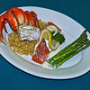 Yes Bay Lodge dinner - Fresh Dungenous Crab with fresh salmo, rice and fresh asperagus!!<br /> Nicky Hack - Head Chef at Yes Bay Lodge<br /> This photo was taken for a new brochure for 2009<br /> Taken with an Olympus DSLR E-500 with a 14-54 Zoom Lens