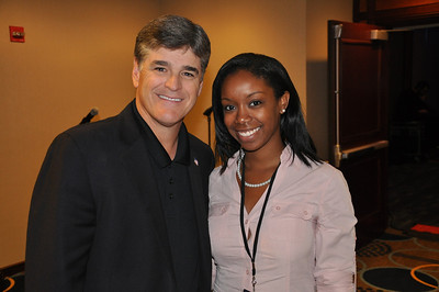 Freedom Alliance Scholarship recipient Lauren Gray poses with Sean Hannity backstage at the Sean Hannity Holiday Salute to the Troops Concert in Washington, D.C.