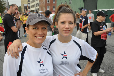 Freedom Alliance Scholarship recipient Cheyenne Yost and mom Rhonda prepare to participate in the Stephen Siller Tunnel To Towers Run in New York City.
