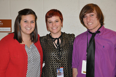 Freedom Alliance Scholarship recipients (from left to right) Kalie Walters, Lindsey Spain, and Justin Seipel gather backstage at the Sean Hannity Holiday Salute to the Troops Concert in Atlanta, Georgia.