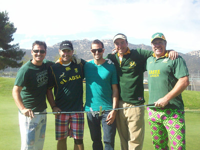 Freedom Alliance Scholarship recipient Brian Kerney (center) poses with golfers at a tournament in San Diego in September 2011.