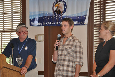 Freedom Alliance Scholarship recipient Matt Spellacy says a word of thanks to participants of the Miami Valley Golf Classic in July 2010.