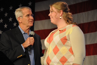 Freedom Alliance Scholarship Recipient Maria James shares a moment with LtCol Oliver North, USMC (Ret.) at the Sean Hannity Holiday Salute to the Troops Concert in Washington, D.C.