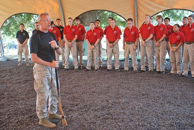 """""""One Mind Any Weapon"""" - LtCol Joe Shusko, USMC (Ret), Director of the Marine Corps Martial Arts Center of Excellence,  provides demonstrations and leadership lessons for 2011 Cadets while touring Marine Corps Base Quantico."""