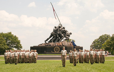 Cadets from Freedom Alliance's Military Leadership Academy in formation at the Marine Corps Memorial in Arlington, Virginia.