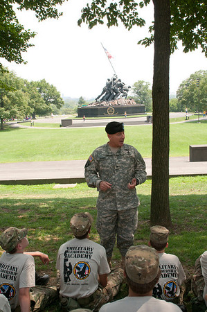 Brigadier General Select Christopher P. Hughes, currently serving as special assistant to the commanding general, 3d Infantry Division, addresses 2010 Cadets at the Iwo Jima Memorial located outside of Washington D.C.