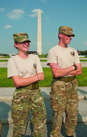 2010 Cadets Alexis Peters and Eric Hern touring the monuments on the National Mall.