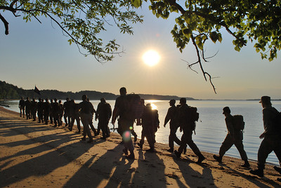 2008 Cadets conducting a Field Conditioning Hike along the banks of the James river.