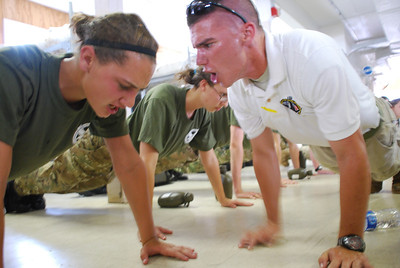 Motivation - Cadet and Instructor motivate each other during physical training.