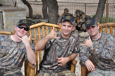 Injured troops from Brook Army Medical Center spend a day out of the hospital hunting exotic animals at Scorpion Ranch in Harper, Texas.