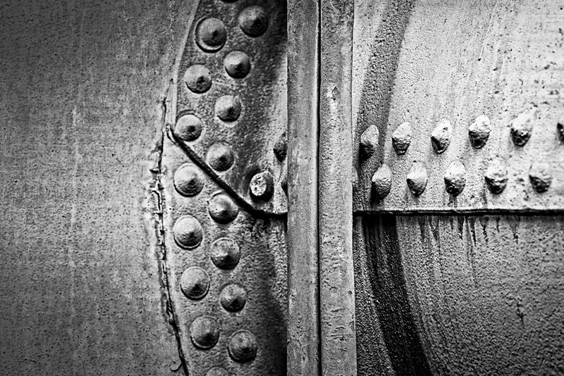 pipes, rivets, and seams - black and white version