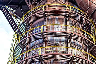 tower at Sloss Furnaces from a low perspective