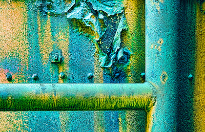 Macro photograph, rusted, industrial pipes, Sloss Furnaces, Birmingham, Alabama