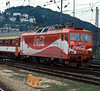 Wearing a very distinctive (!) variation of the red and white livery applied to some locos 362-015 departs from Bratislava HS with an eastbound express on 21 September 2005