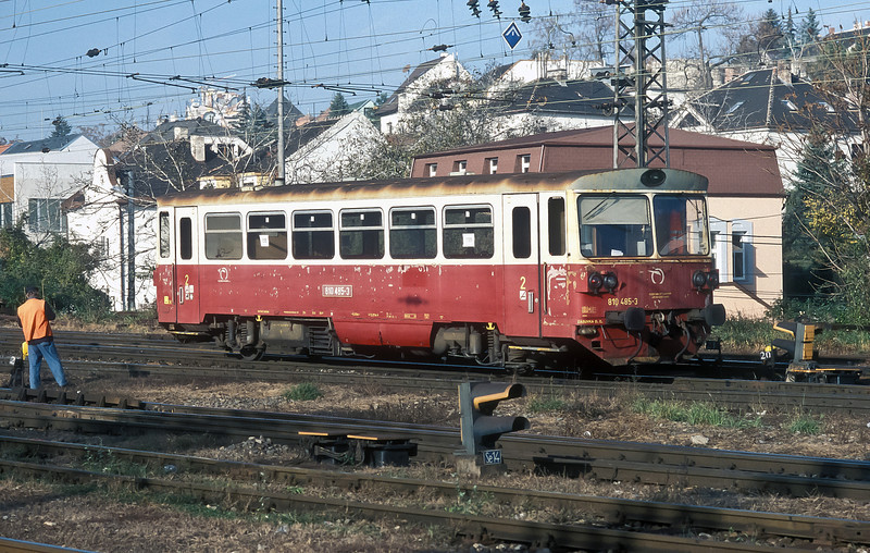 ZSSK 810-485 is in almost original condition (even down to the peeling paint!) at Bratislava HS on 8 November 2006