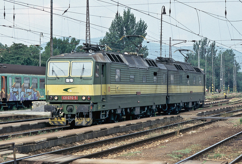 ZS Cargo 131.070 + 131.069 run light engine through Zilina as they head east to pick up another freight service on 27 June 2008